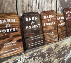 Gorgeous Rustic Business Cards Printed On Antique Reclaimed Barn Wood