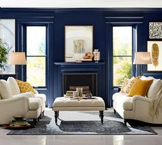 Wall color is Sherwin Williams Naval-  Pottery Barn/Sherwin Williams Colors.  One of the best blues!