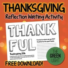 Thanksgiving Reflection Writing Activity - FREE!