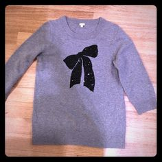 Sweater Gray sweater with a black squinted bow on the front. J. Crew Sweaters Crew & Scoop Necks