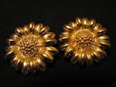 Vintage Napier Gold Tone Sunflower Clip Earrings by JewelryStash, $12.75