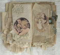 Mixed Media Fabric Collage Book of Heavenly Angels   eBay