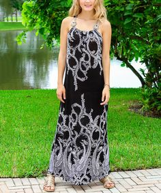 Look what I found on #zulily! Black & White Embellished-Strap Maxi Dress #zulilyfinds