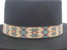 Native American Beaded Hat Band In A Southwestern Morning Star Pattern . Native American Beading, Native American Indians, Beaded Hat Bands, Western Cowboy Hats, Star Patterns, Weaving Patterns, Bead Weaving, Cuff Bracelets, Loom
