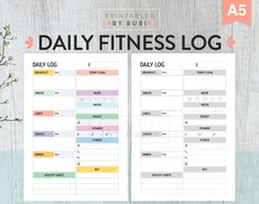 Fitness Tracker, Fitness Journal, Fitness Log, Calorie Tracker, Fitness Planner, Goal Habit Tracker, Water Tracker, Daily Health and Fitness. Printable Daily Health and Fitness Tracker. This Planner Insert includes all that you need to keep on track your fitness goals: food log and calorie intake tracker, water tracker, workout, vitamins, grocery shopping list, healthy habits, goals and more...