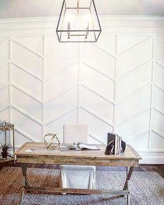 This herringbone wall treatment would be beautiful accent in any office or dining room! Curated by wall treatment Home Office Design, Home Office Decor, Rooms Home Decor, Cheap Home Decor, Home Renovation, Home Remodeling, Herringbone Wall, Interior Minimalista, Colorado