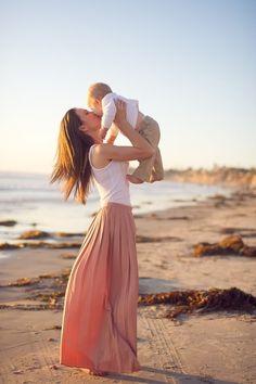 mom, baby, maxi, sun, ocean