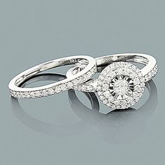 Affordable Diamond Engagement Ring Set 2ct Look 10K