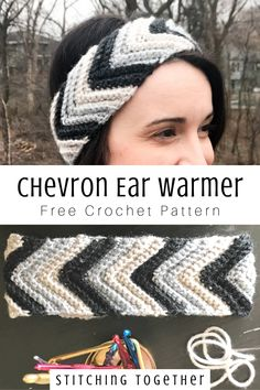 This easy crochet headband pattern uses one large looped chevron with cozy yarn to make an ear warme Crochet Headband Pattern, Knitted Headband, Crochet Beanie, Headband Hair, Quick Crochet, Crochet Baby, Free Crochet, Chevron Crochet, Crochet Crafts