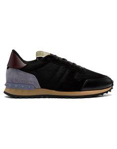 VALENTINO Black Valentino Garavani Mesh Rockrunner Sneakers · VERGLE