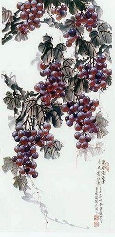 Виноград Japan Painting, Ink Painting, Watercolor Art, Prophetic Art, China Art, Inspirational Artwork, Fruit Art, Flowering Trees, Chinese Painting