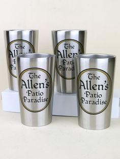 Set of 4 Personalized Stainless Steel Tumblers