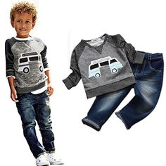 Baby Boys Clothes Mchoice Toddler Boys Outfit Clothes Car Print Tshirt TopsLong Jeans Trousers 1Set 56 Years old Grey * Learn more by visiting the image link.Note:It is affiliate link to Amazon.