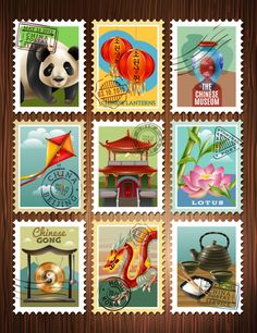 Download China Travel Stamps Set Poster for free