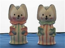 Vintage Puppy Dogs in Clown Noses and Suits Salt and Pepper Shakers