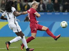 Canada's Sophie Schmidt scores the game's only goal against France in the…