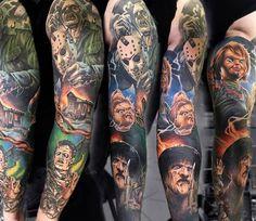 Full colors Horror Sleeve tattoo art works by Sasha O Kharin Post 14575 World Tattoo Gallery Best place to Tattoo Arts Horror Movie Tattoos, Scary Tattoos, Dope Tattoos, Badass Tattoos, Skull Tattoos, Leg Tattoos, Body Art Tattoos, Tattoos For Guys, Horror Movies