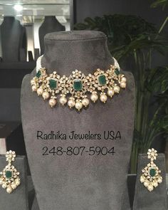 Jewelry OFF! Indian wedding jewelry Gold necklace designs Diamond wedding jewelry Bridal jewelry Kundan jewellery bridal Gold jewellery design necklaces - 22 carat gold polki diamond emerald necklace with ear - Gold Earrings Designs, Gold Jewellery Design, Necklace Designs, Emerald Jewelry, Emerald Necklace, Gold Necklace, Gold Jewelry, Indian Wedding Jewelry, Bridal Jewelry