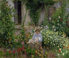 Mother and Child in the Flowers, 1879 (oil on canvas) by Pissarro, Camille (1830-1903)