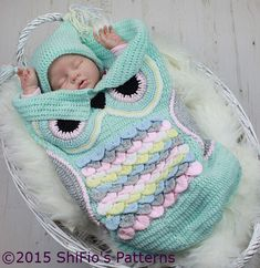 CROCHET PATTERN For Owl Baby Cocoon, Papoose & Hat in 3 Sizes PDF 245 Digital Download by ShiFio on Etsy https://www.etsy.com/listing/130501951/crochet-pattern-for-owl-baby-cocoon