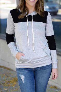 Sudadera con capucha manga larga bolsillos-(Sheinside)