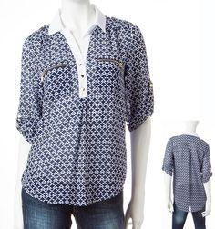 Geo Chiffon Henley MY MICHELLE Roll-tab Sleeve Zipper Pocket Top Junior's M NWT #MyMichelle #Tunic #Casual