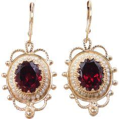 -14k Gold Victorian Revival Garnet and Seed Pearl Dangle Earrings. Garnet 5.60 ctw.