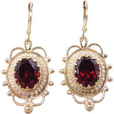 Victorian Revival 14k Gold Garnet and Seed Pearl Earrings found at www.rubylane.com @rubylanecom