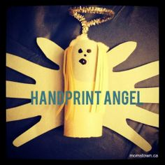 Handprint and Toilet Roll Angel Craft for #Christmas #craft #kids