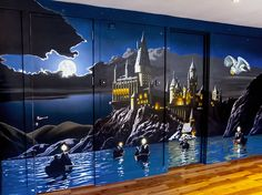 Mural of Hogwarts, Harry Potter, from the lake in moonlight