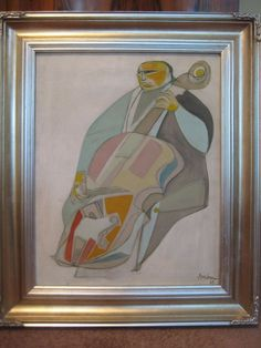 1963 SIGNED ORIGINAL IRVING AMEN MID CENTURY MODERNIST PAINTING THE CELLO
