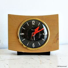 Vintage clock wood Westclox alarm clock plug by OldCottonwood Vintage Alarm Clocks, Ticks, Black Backgrounds, Plugs, Orange, Wood, Metal, Hands, Clock
