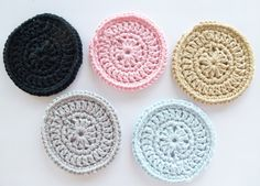 Crochet Coasters Set of 5 by annemariesbreiblog on Etsy
