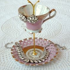 Alice Sees Polka Dots, Pink & Gold 2 Tier Vintage China Jewelry Stand Display or High Tea Party Centerpiece -- FREE US SHIPPING. $65.00, via Etsy.