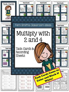 Multiplication with 2 and 4 Task Cards and Recording Sheets with no COMMON CORE Listings and a cute Cupcake Theme. #Free Preview has Four FREE Task Cards to try before you buy! This resource is made to go with Go Math, Third Grade, Chapter Four or any Math Series. #TPT $Paid