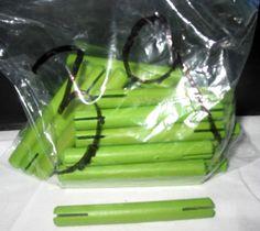 "Lot of 39 Hasbro Tinkertoy Construction 3"" Lime Green Wood Stick Peg Rod Parts #Hasbro"