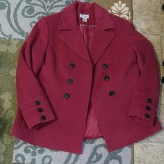 St John's Bay maroon peacoat St John's Bay maroon/wine color peacoat. Size xlarge tall. Looks practically new and just dry cleaned.  Cute buttons on ends of sleeves. One button on front is loose, but other than that it's perfect and beautiful color for any closet! St. John's Bay Jackets & Coats Pea Coats