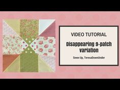 How to make this disappearing block variation Learn to make this bock in 2 minutes: Block finished size 13 inch square. Quilt designs This block can be made scrappy. Quilting For Beginners, Quilting Tips, Quilting Tutorials, Machine Quilting, Quilting Designs, Quilt Block Patterns, Pattern Blocks, Quilt Blocks, Disappearing Nine Patch