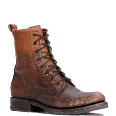 Frye Veronica Combat Stone Washed cognac boots