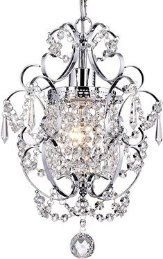 Amorette Chrome Glam Lighting Mini Pendant Chandelier With Crystals - Traditional - Chandeliers - by Edvivi Lighting Crystal Chandelier Lighting, Pendant Chandelier, Closet Chandelier, Hanging Chandelier, Ceiling Chandelier, Crystal Lights, Chandelier Ideas, Drum Pendant, Vintage Chandelier