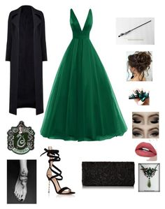 """""""Slytherin ball outfit"""" by angelice234 on Polyvore featuring Gianvito Rossi"""