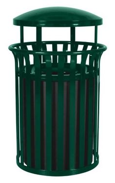 Hunter Green Gloss Outdoor Trash Receptacle with Canopy