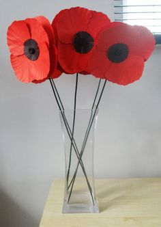Hand Crafted Single Paper Poppy Flower Can be made in any colour choice by JustJulesHomeDecor on Etsy