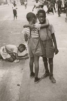 N.Y. (Two boys hugging on the street), 1942, by Helen Levitt, The Museum of Contemporary Art, Los Angeles, The Ralph M. Parsons Foundation Photography Collection