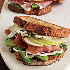Prosciutto, Pear, and Blue Cheese Sandwich - Check out Superfresh Pears HERE: http://www.superfreshgrowers.com/our-fruit/pears #EATPEARS