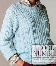 Instant PDF Download Vintage Row by Row Knitting Pattern to make a Ladies Loose Fitting Aran Style Sweater with Cable Variety Bust 76-101 cm