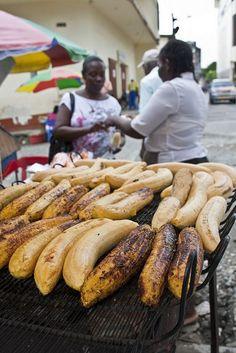 Traditional Hmmmm Q' Rico Rico......Grilled plantains - I loveeeeee street food..., ,