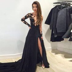 Sexy Long Sleeves Black Lace Prom Dresses With Train Chiffon Formal Dresses
