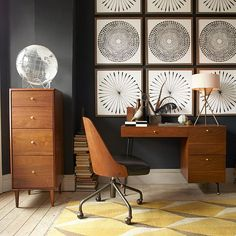 NEW! In a rich walnut finish, Grasshopper Desk provides three generous drawers. Pair with matching Birkin 4-Drawer File Cabinet + Bentwood Office Chair.