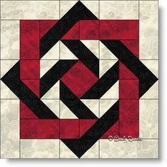 """Slip Knot"" quilt block featuring squares, rectangles, half square triangles and flying geese patches."